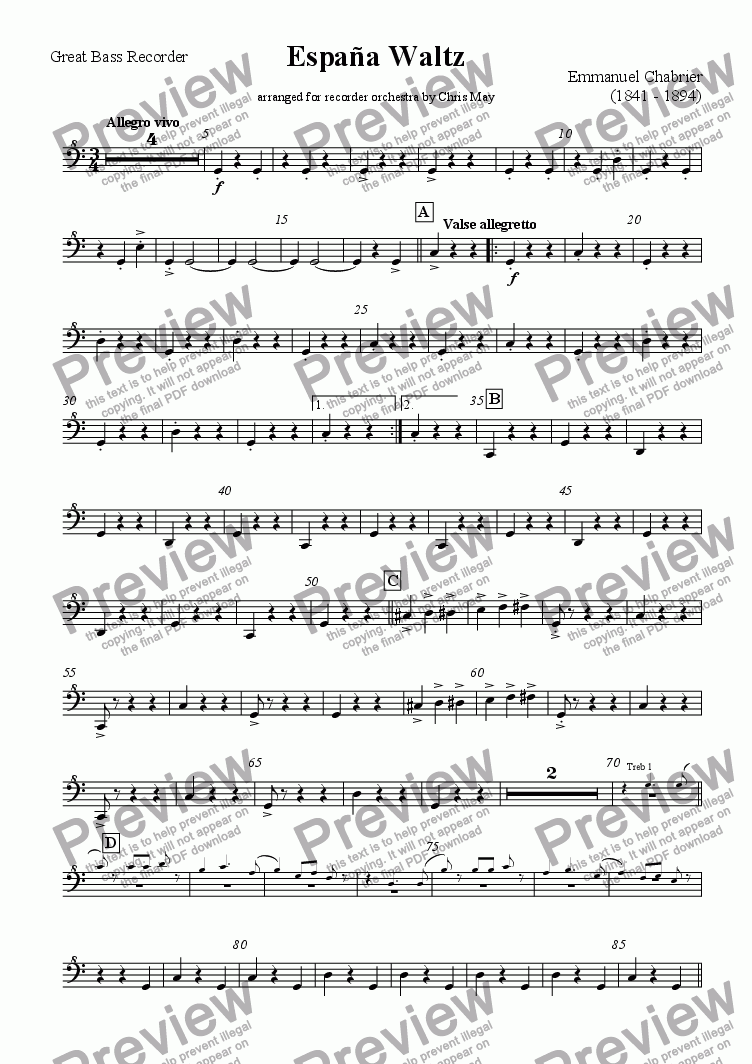 page one of the Great bass in C part from España Waltz arranged for Recorder Orchestra