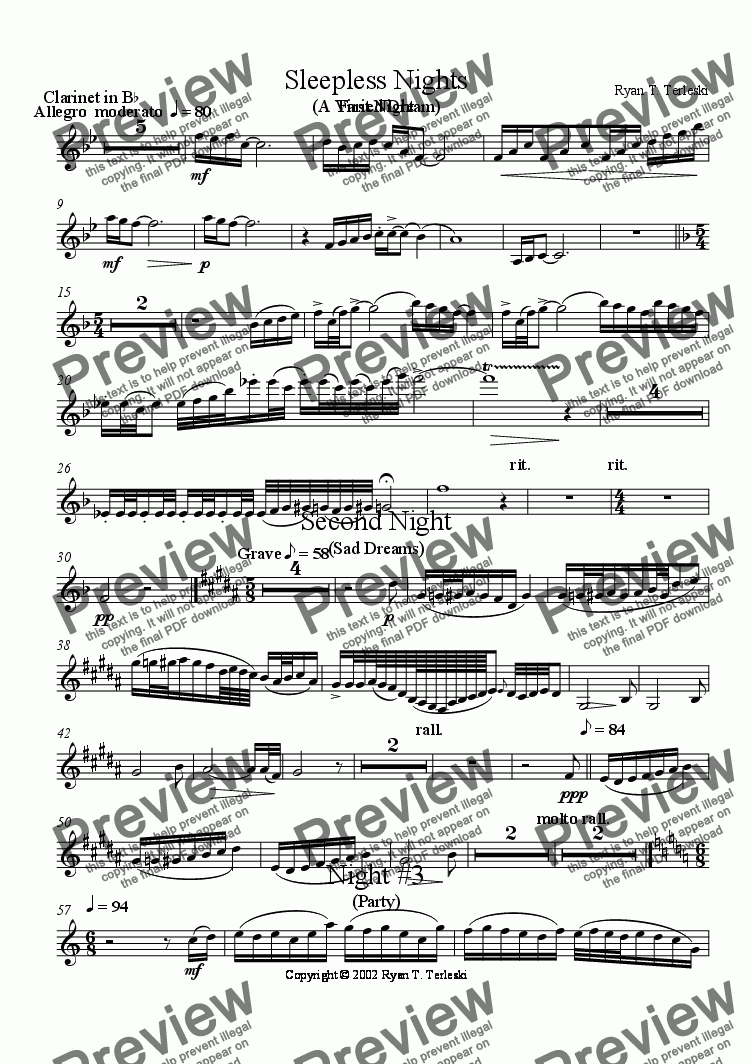 page one of the Clarinet in B-flat part from Sleepless Nights