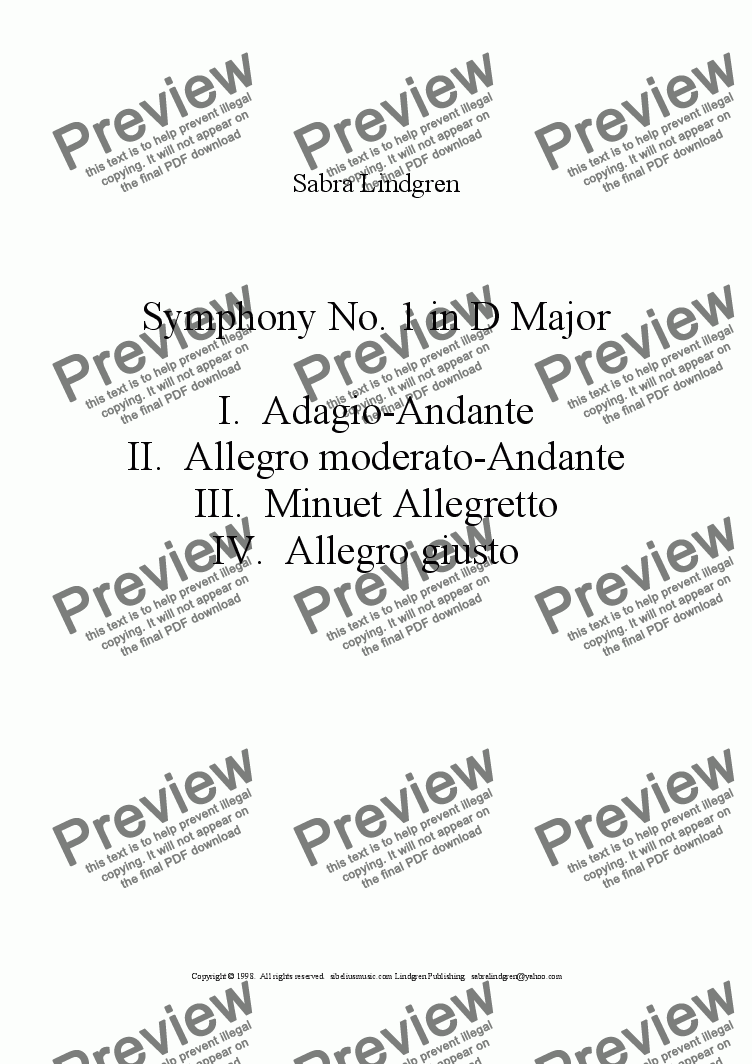 page one of the Cymbals part from Symphony No. 1 in D Major, II. Allegro moderato-Andante