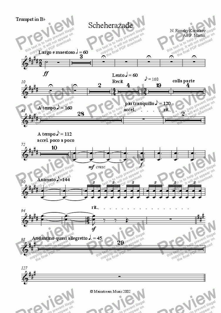 page one of the Trumpet in Bb part from Scheherazade