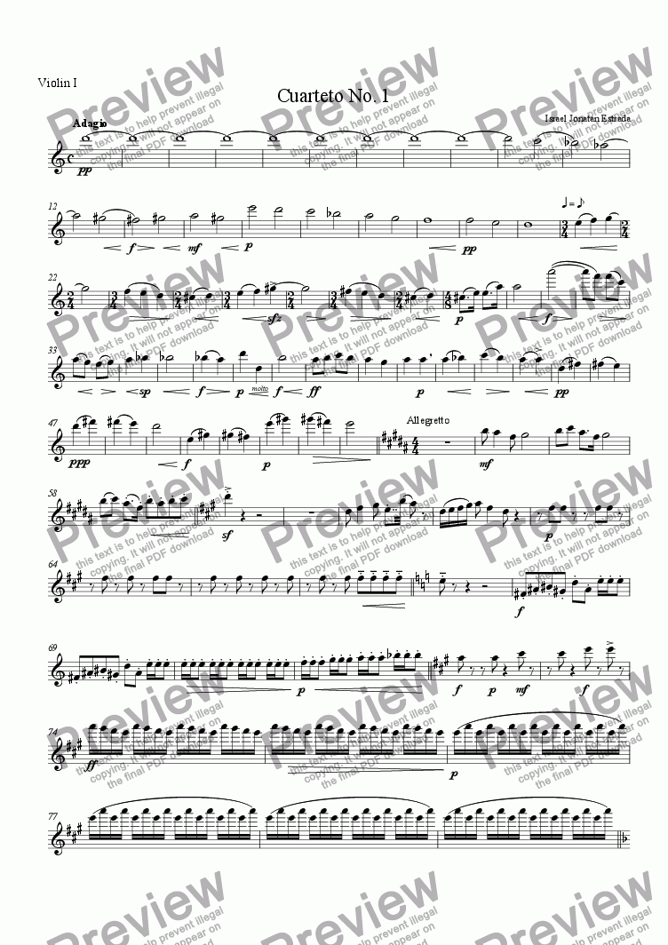 page one of the Violin I part from Cuarteto No. 1 para Cuerdas