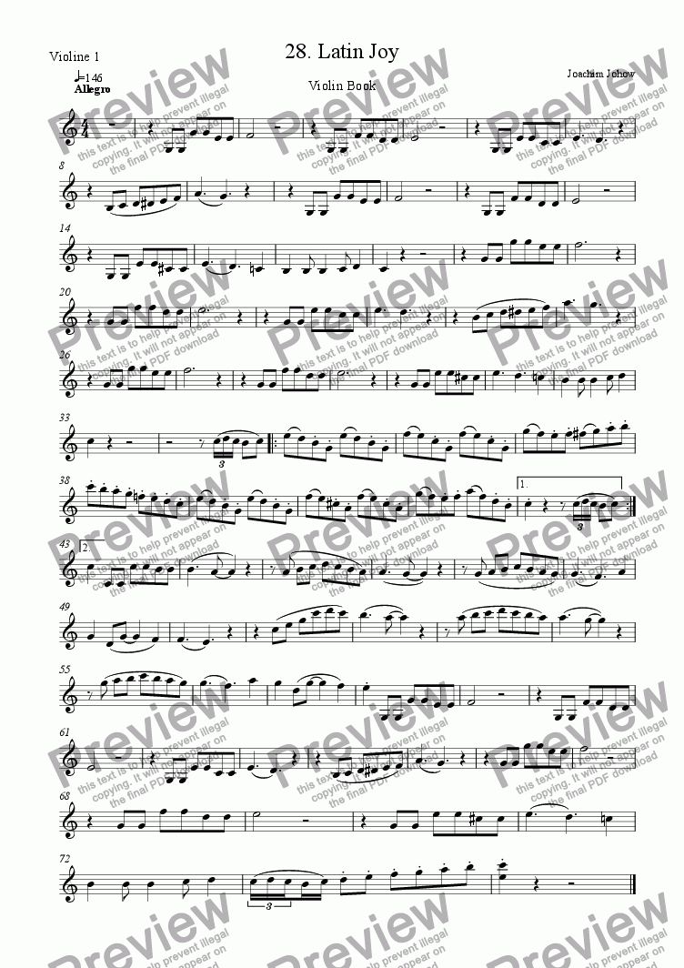 page one of the Vl part from Violin Book 28 (Latin Joy)