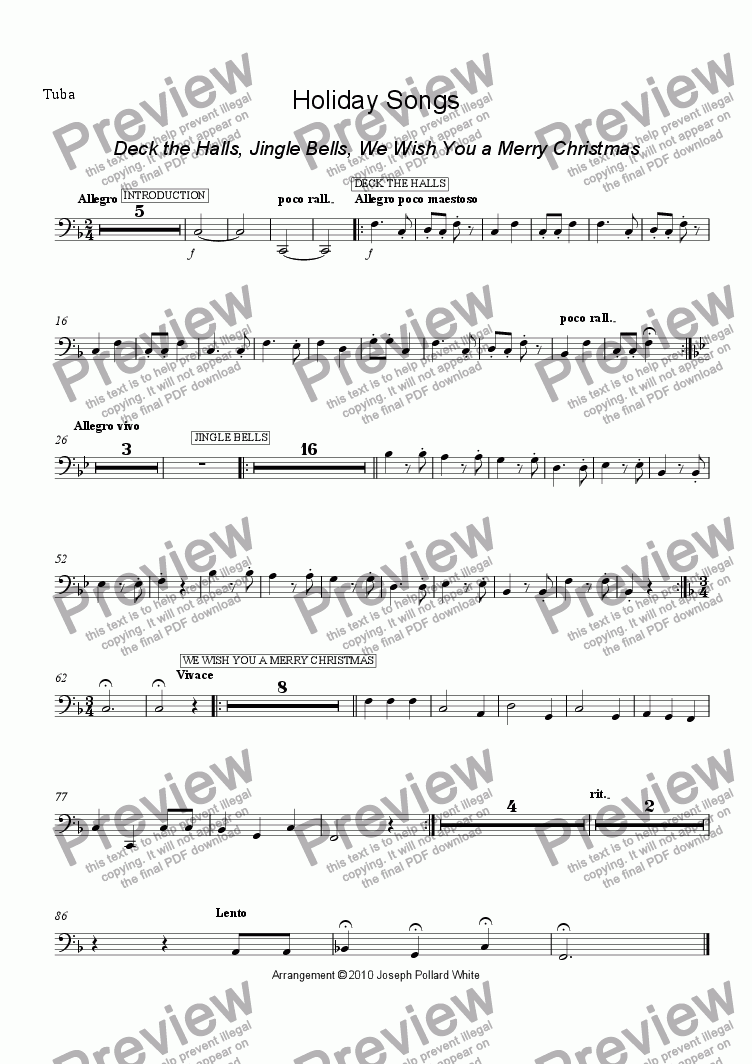 page one of the tuba part from Holiday Songs (Deck The Halls, Jingle Bells and We Wish You a Merry Christmas)