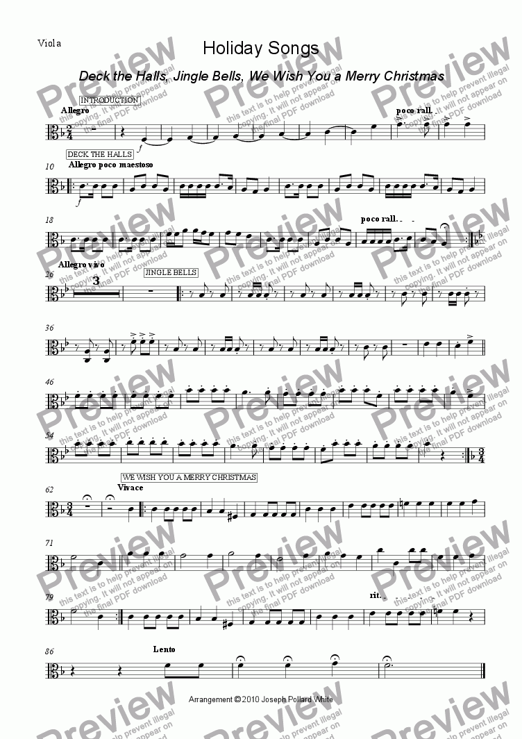 page one of the viola part from Holiday Songs (Deck The Halls, Jingle Bells and We Wish You a Merry Christmas)