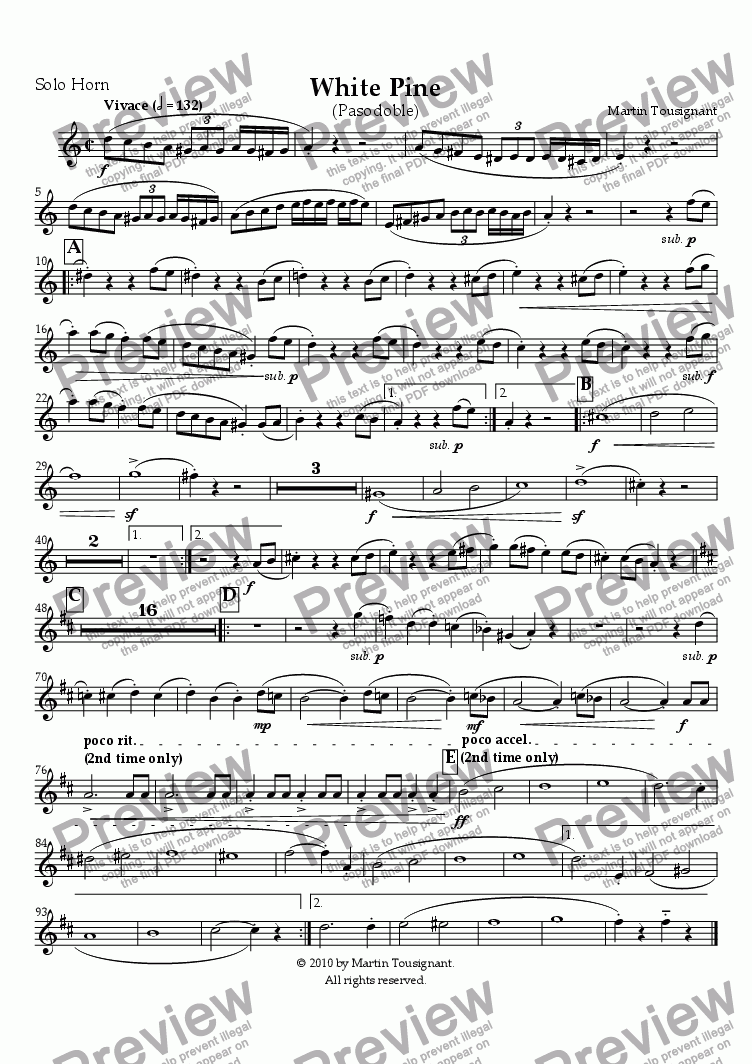 page one of the Solo Horn part from White Pine (Brass Band)