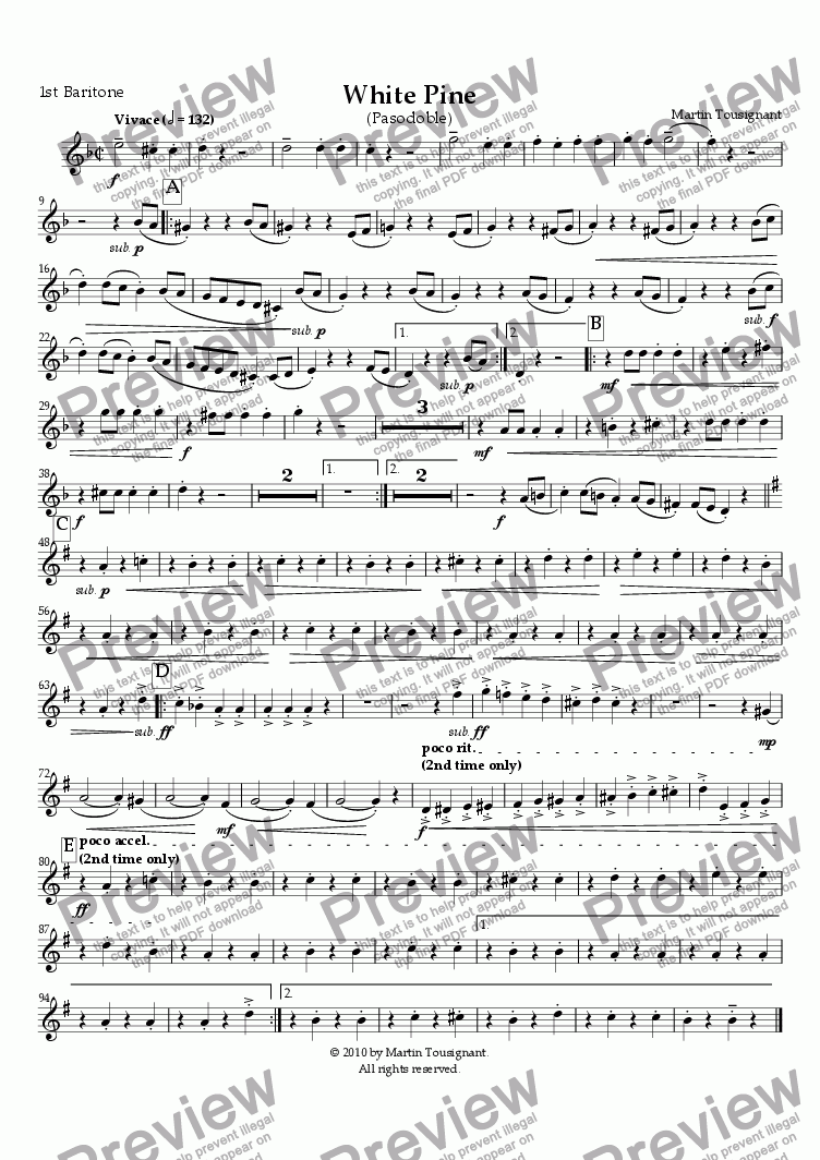 page one of the 1st Baritone part from White Pine (Brass Band)