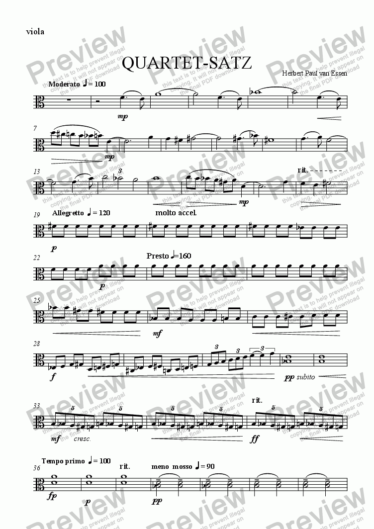 page one of the Viola part from Quartet-Satz