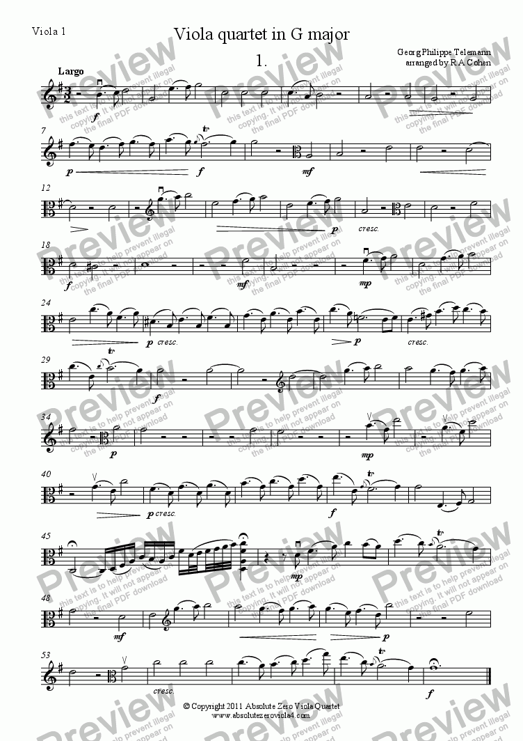 page one of the Viola 1 part from Telemann - VIOLA QUARTET in G major