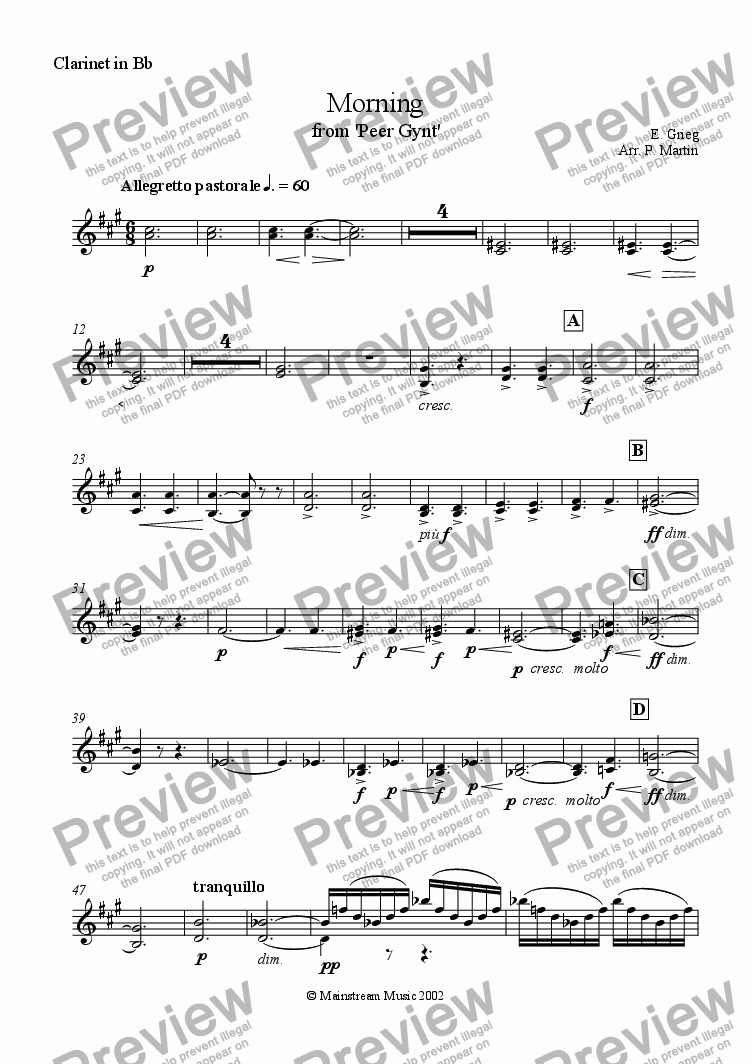 page one of the Clarinet in Bb part from Morning from Peer Gynt