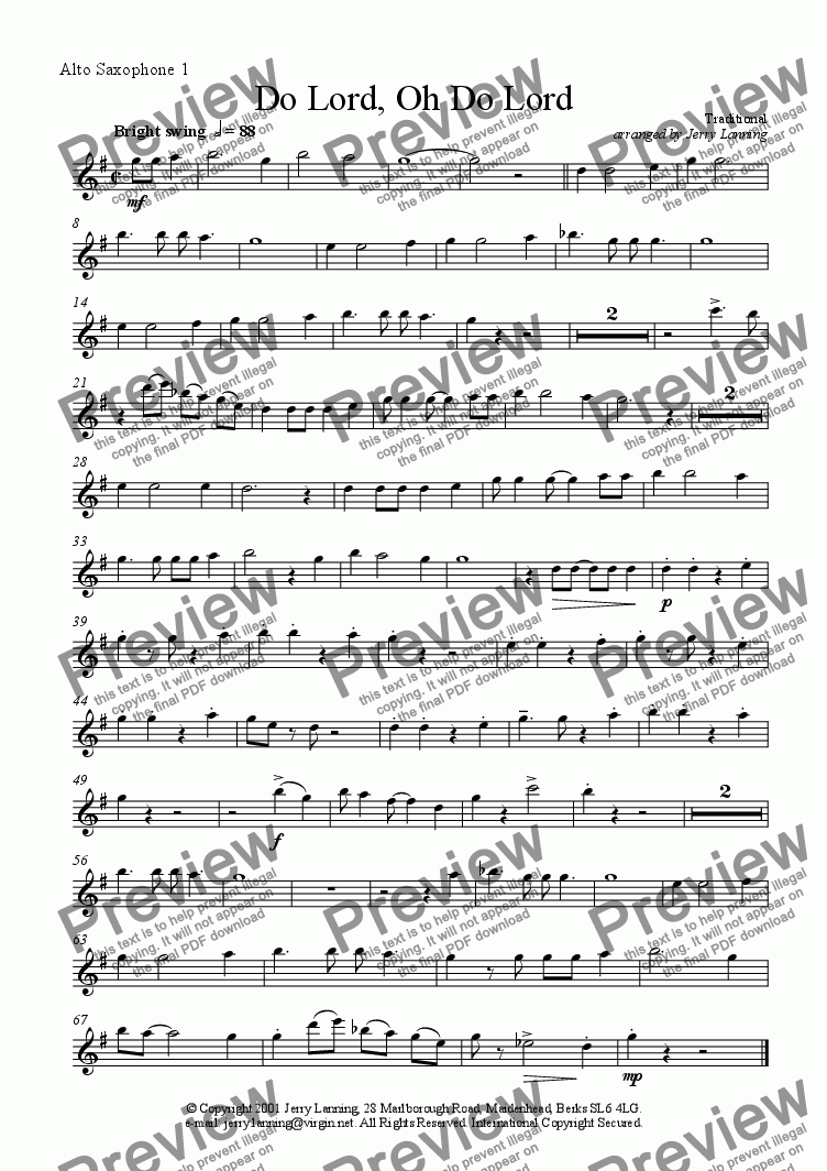 page one of the Alto sax 1 part from Do Lord, Oh Do Lord (sax quintet)
