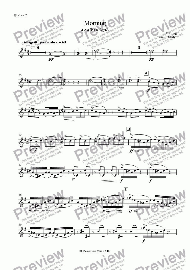 page one of the Violin I part from Morning from Peer Gynt