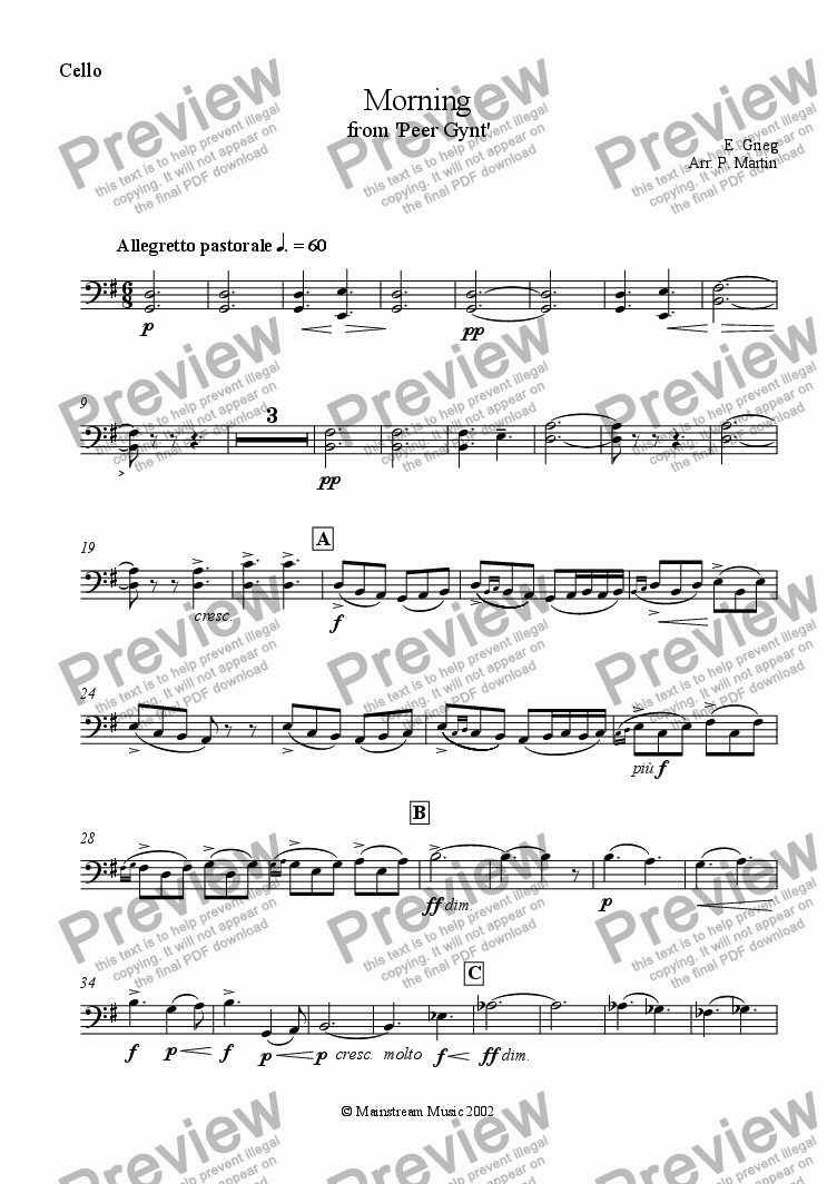 page one of the Cello part from Morning from Peer Gynt