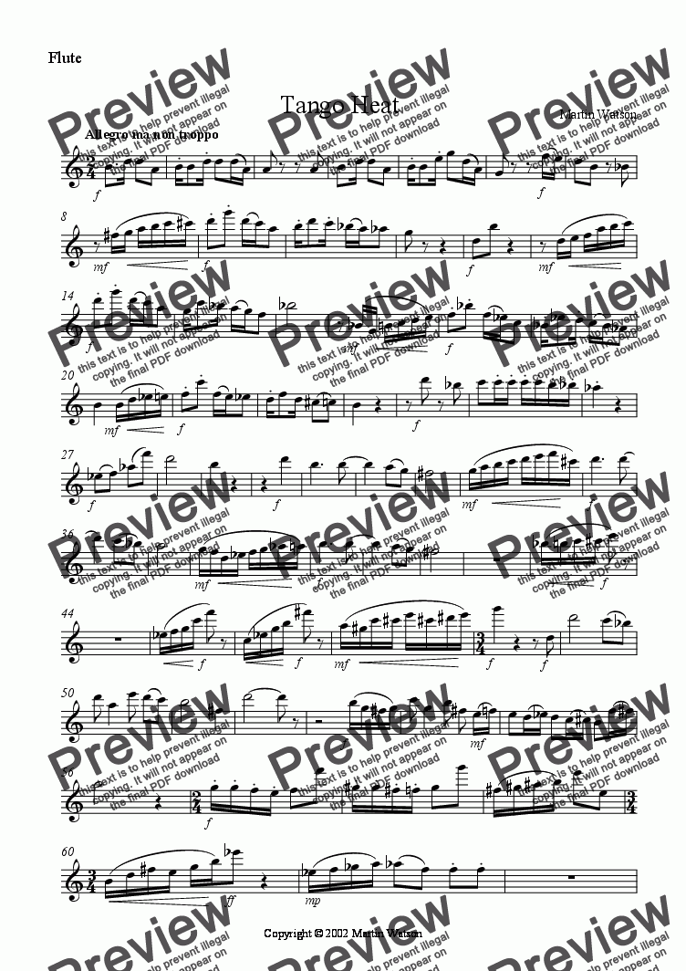 page one of the Flute part from Tango Heat for Flute, Oboe, Bb Clarinet and Piano.