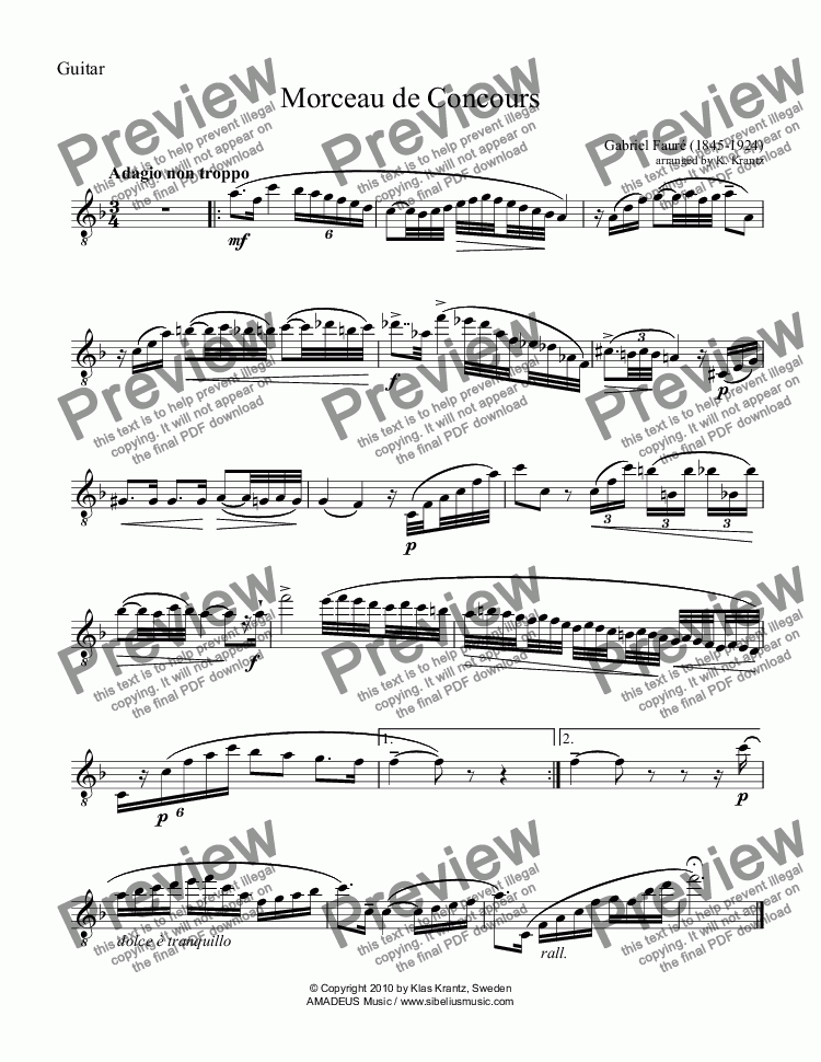page one of the Guitar part from Morceau de Concours for guitar and piano