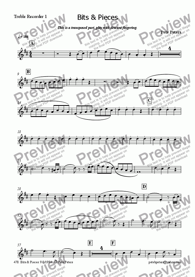 page one of the Treble 1 transposed part from Bits & Pieces [rec/flute 4tet]