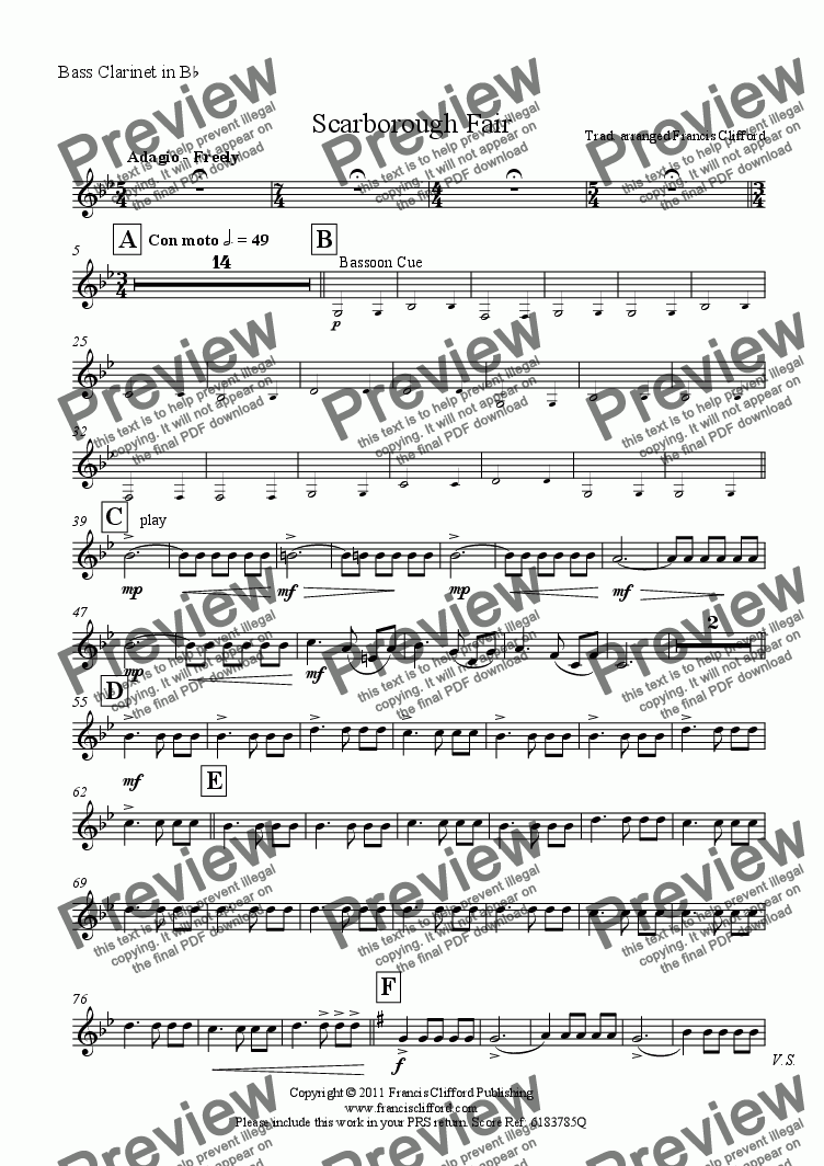 page one of the Bass Clarinet part from Scarborough Fair (Wind Band Version)