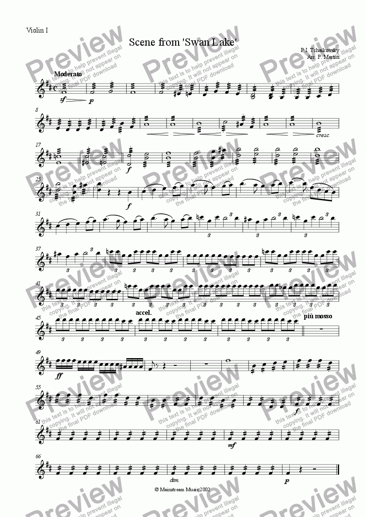 page one of the Violin I part from Scene from 'Swan Lake'