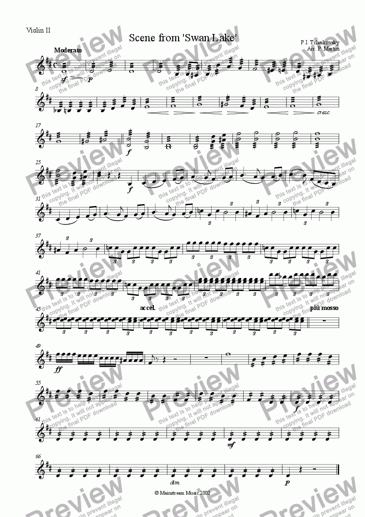 page one of the Violin II part from Scene from 'Swan Lake'