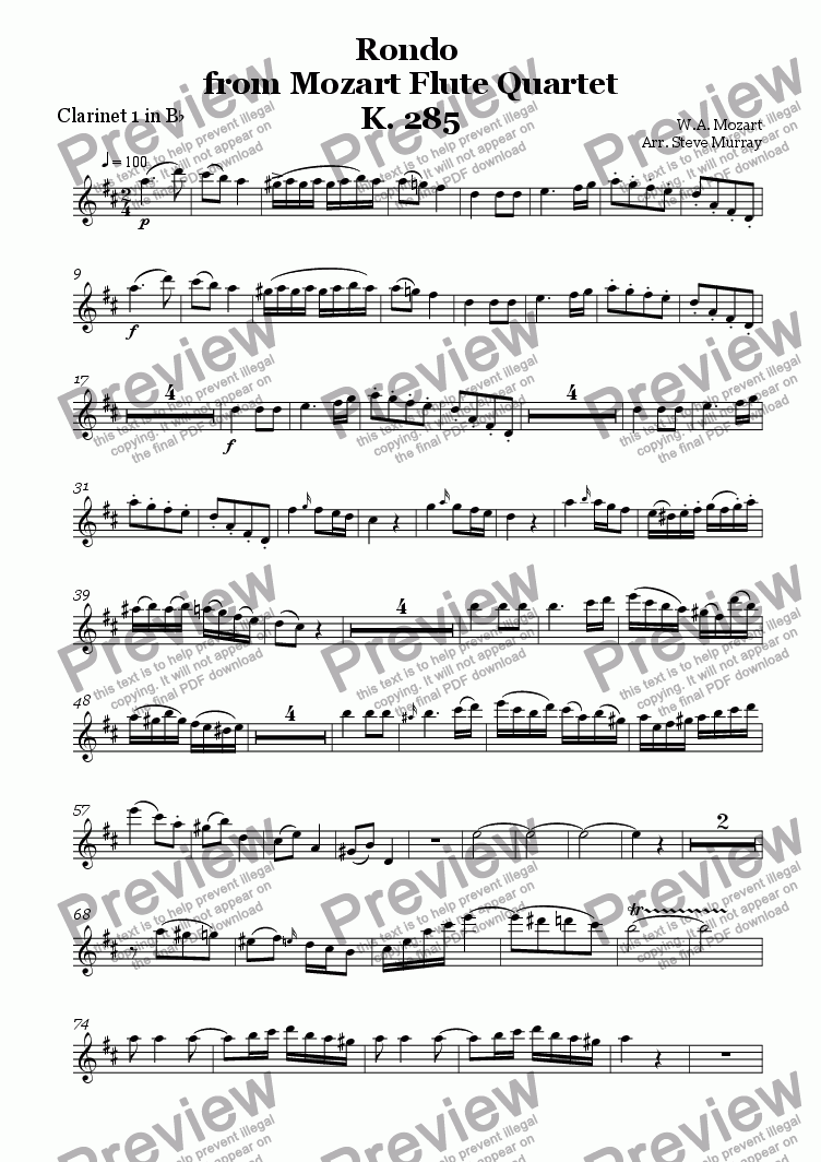 page one of the Clarinet 1 part from Rondo from Flute Quartet K.285 (For 4 Clarinets)