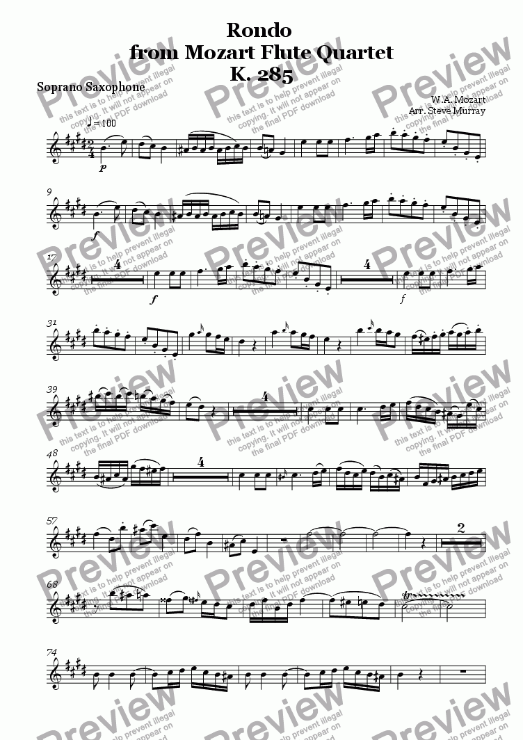page one of the Soprano Sax part from Rondo from Flute Quartet K.285 (Sax Quartet)
