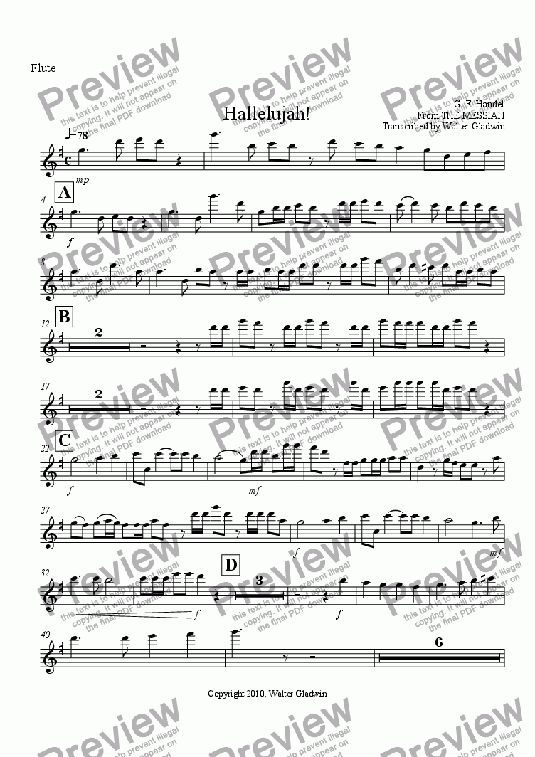 page one of the Flute part from Hallelujah! (W. W. quintet)