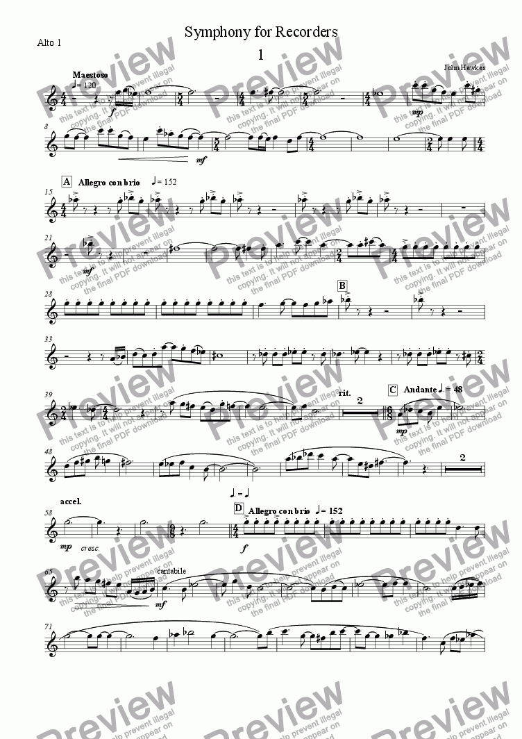 page one of the Alto 1 part from Symphony for Recorders