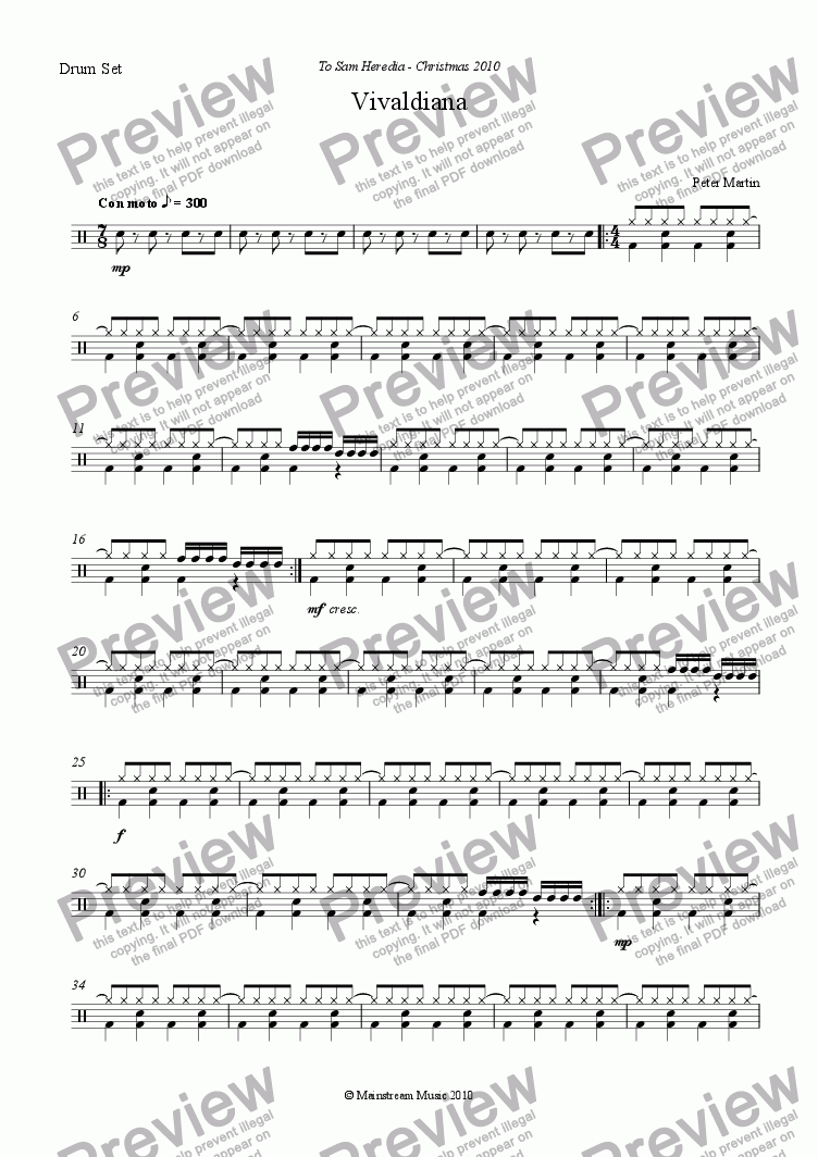page one of the Drum Kit part from Vivaldiana - String Orchestra
