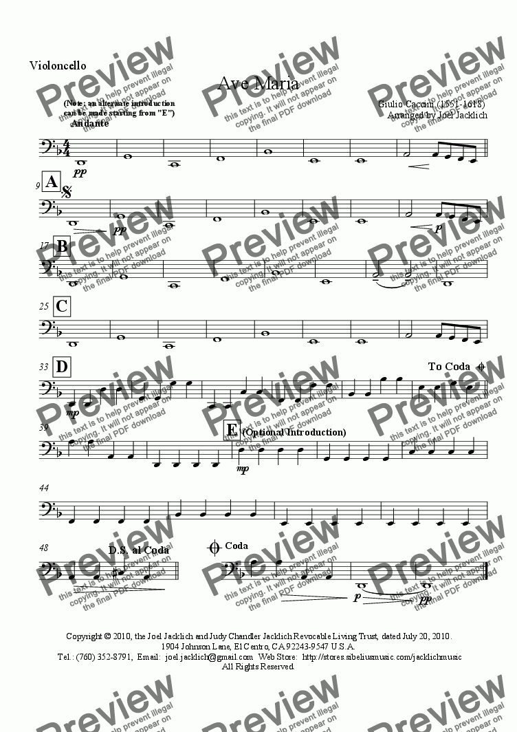 page one of the Cello part from Ave Maria (D minor - Alto) (Caccini 1551-1681)