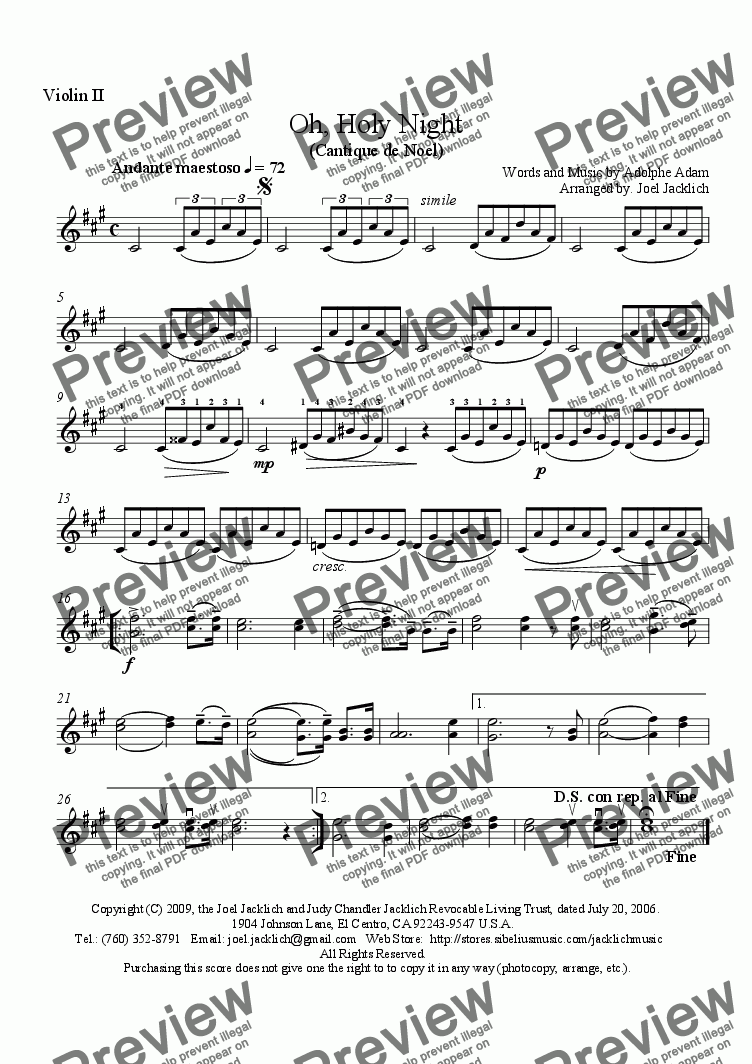 page one of the Violin II part from O Holy Night - Cantique de Noel (String Quartet - A Major)
