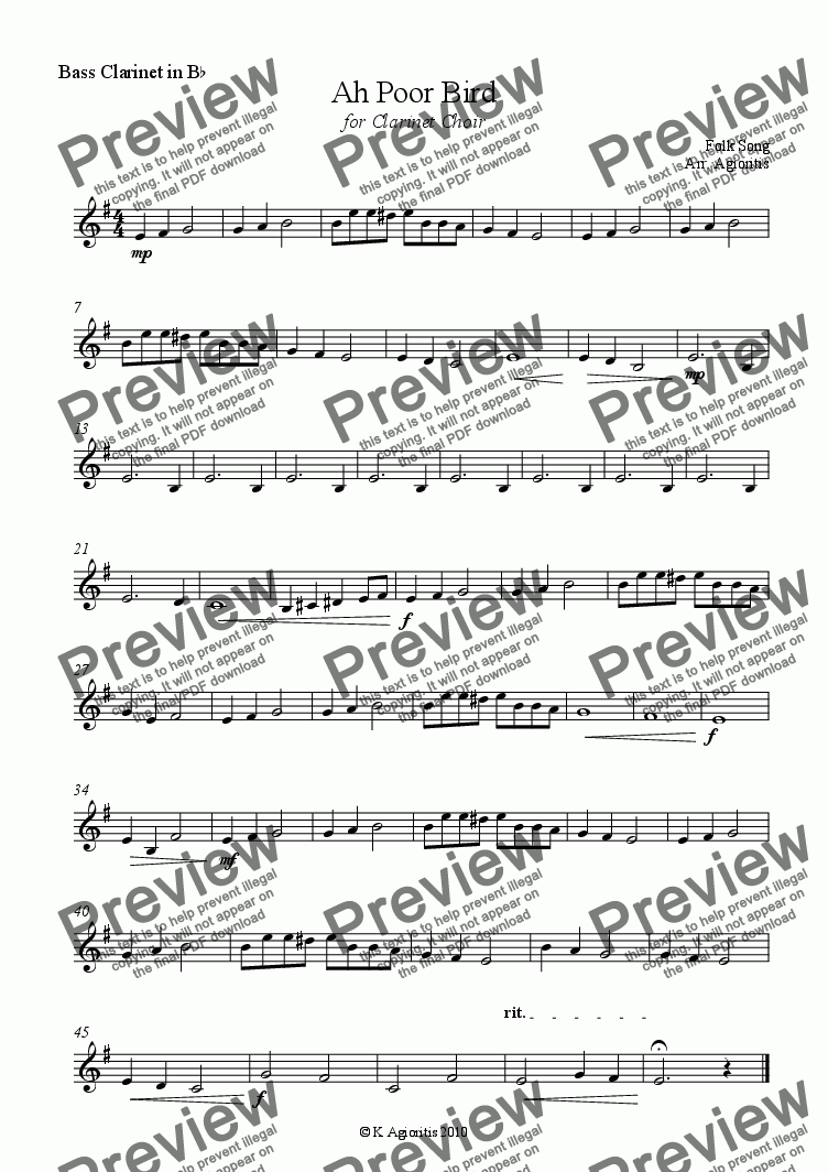 page one of the Bass Clarinet part from Ah Poor Bird - for Clarinet Choir