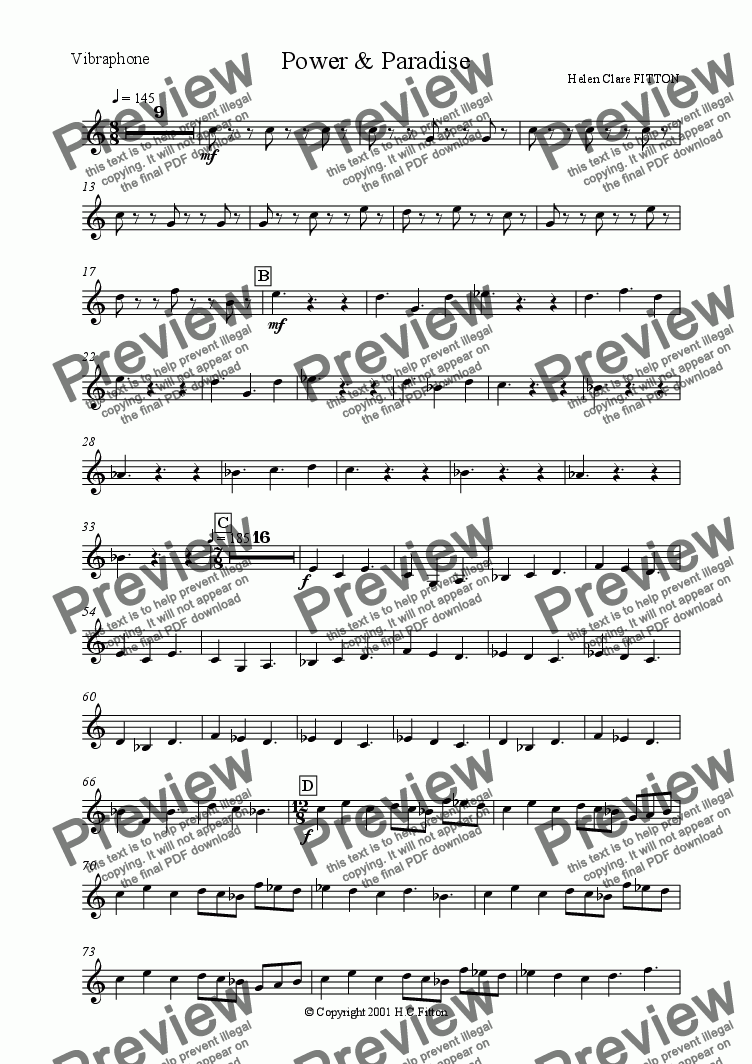 page one of the Vibraphone part from POWER AND PARADISE For Full Symphony Orchestra and Chorus