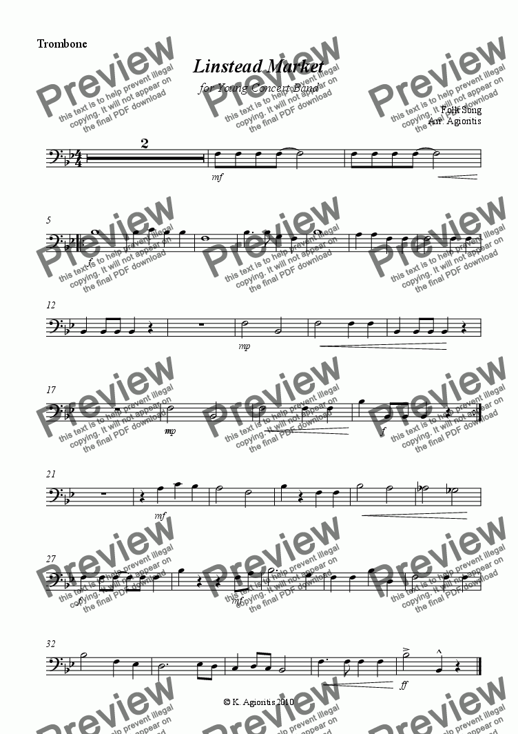 page one of the Trombone part from Linstead Market - for Young Concert Band