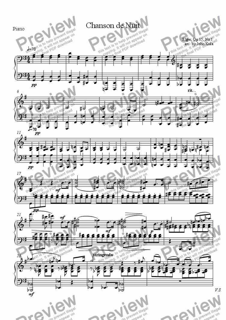 page one of the Piano part from Chanson De Nuit - Piano Trio