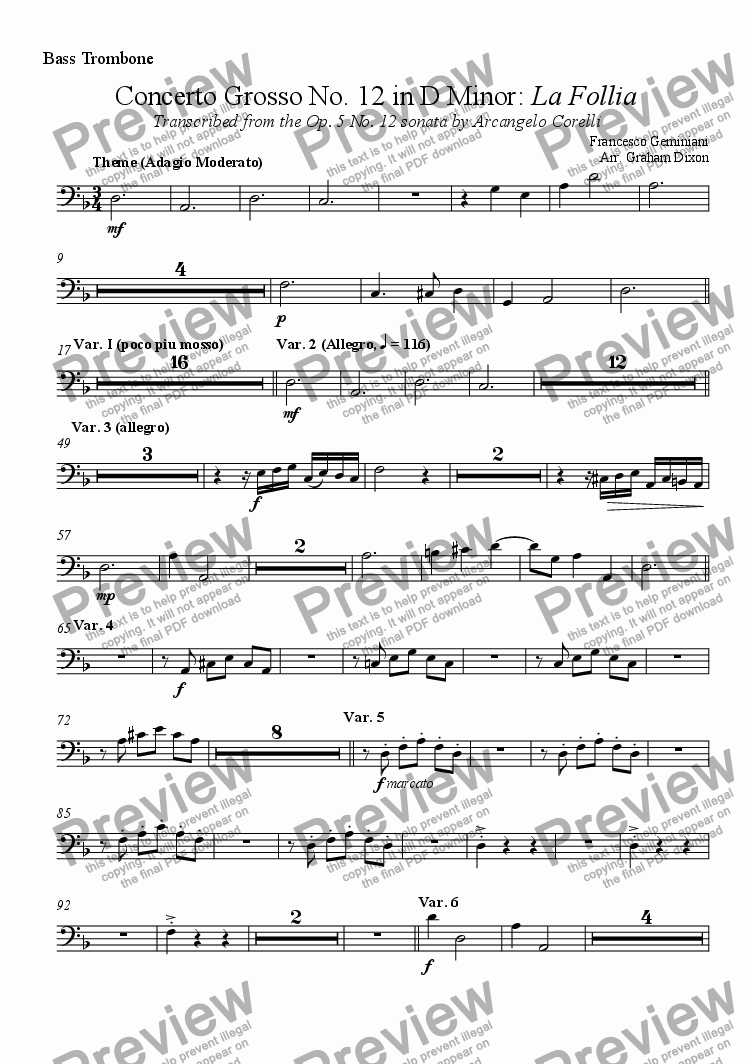 page one of the Bass Trombone part from Concerto Grosso No. 12  'La Follia' for brass ensemble