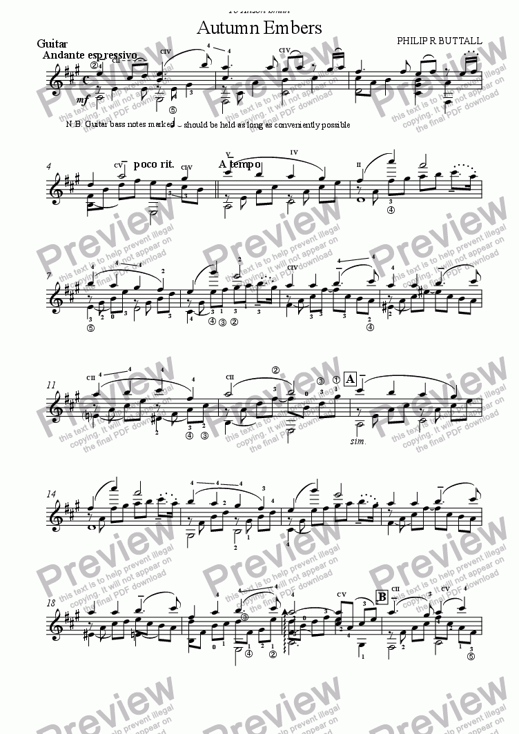 page one of the Guitar part from Autumn Embers (Guitar & Strings/Organ)