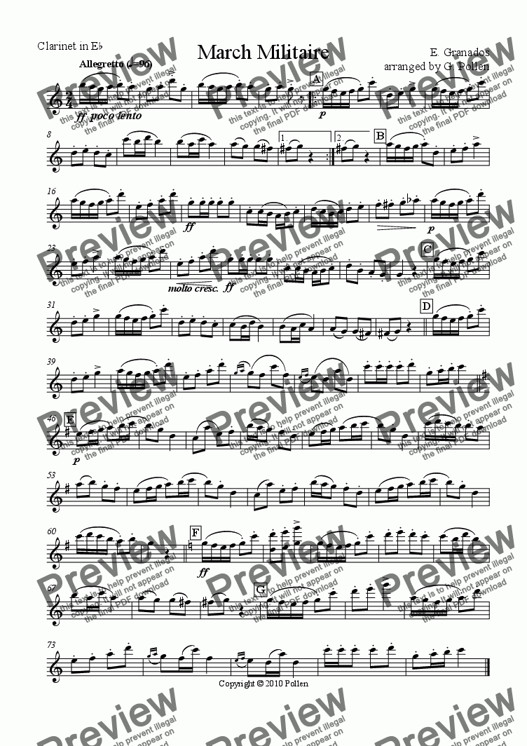 page one of the Clarinet in E flat part from March for Concert Wind Band