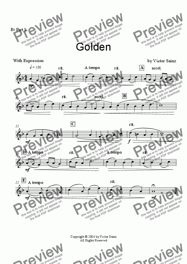 page one of the All Bb Parts part from Golden (beginning to intermediate woodwind ensemble - flexible instrumentation)
