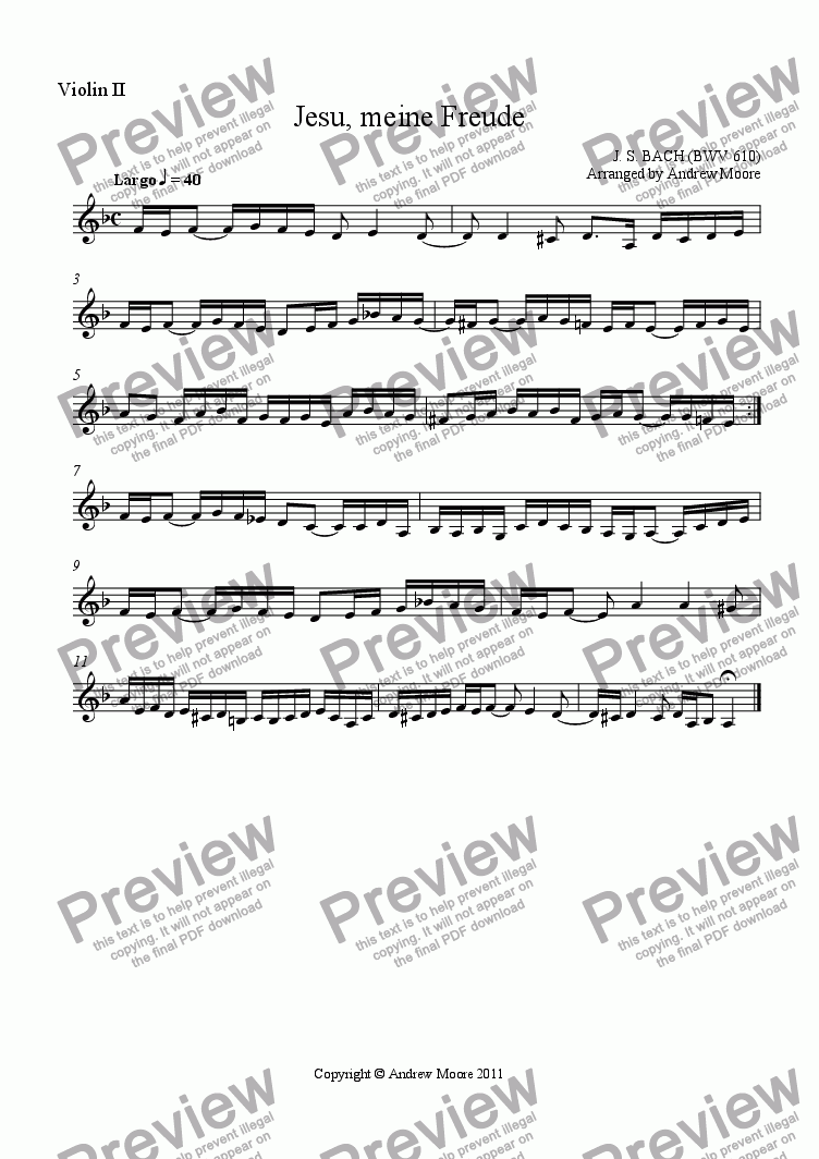 page one of the Violin 2 part from 'Jesu, meine Freude' (BWV 610) arranged for String Quartet