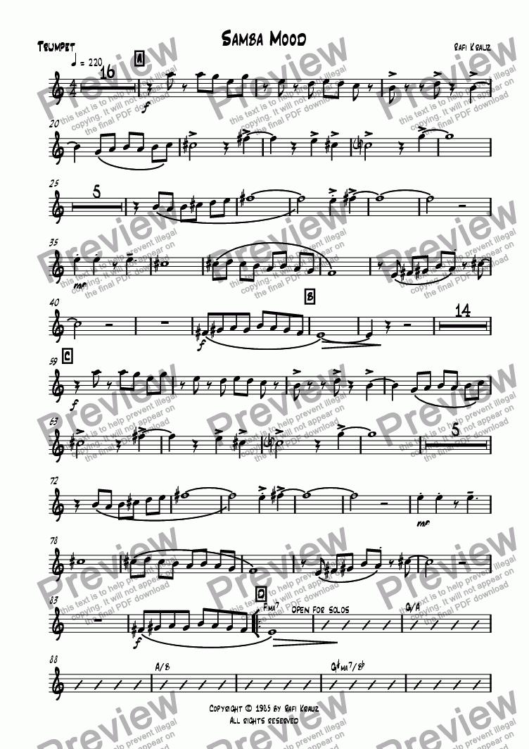 page one of the Trumpet part from Samba mood
