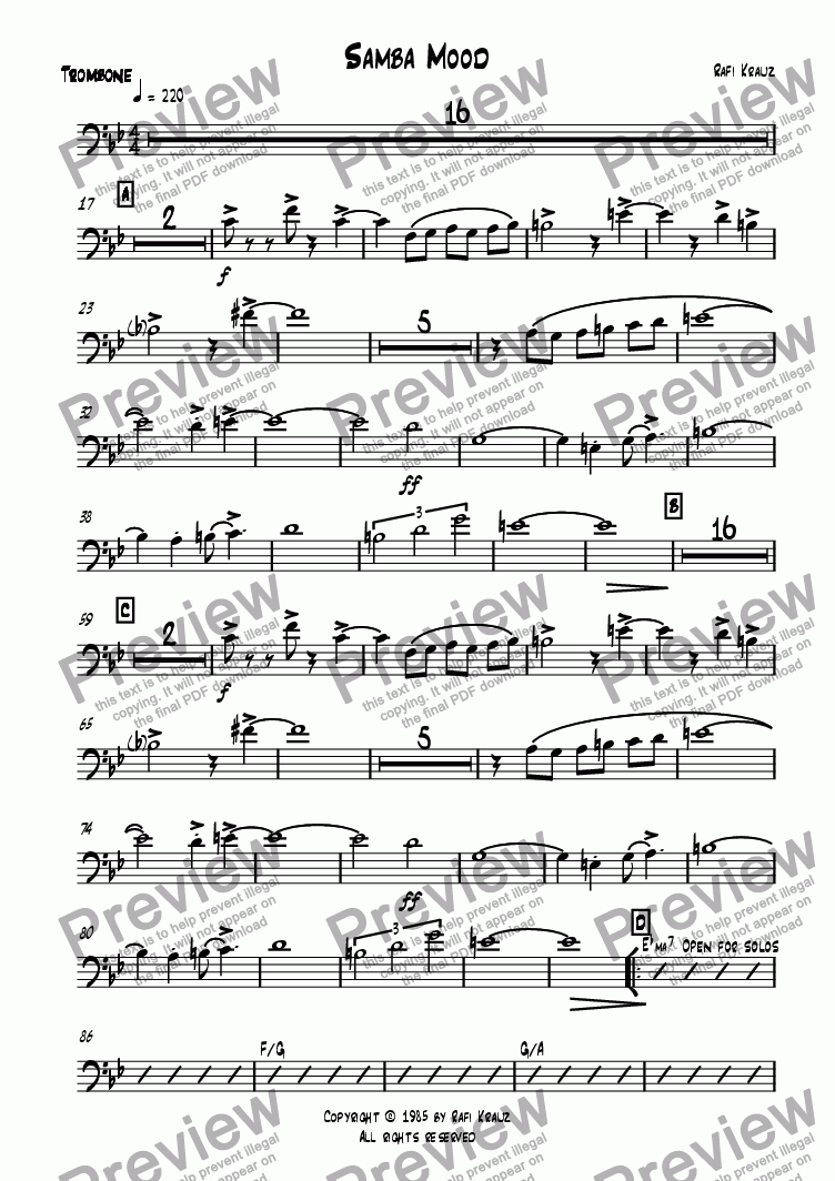 page one of the Trombone part from Samba mood