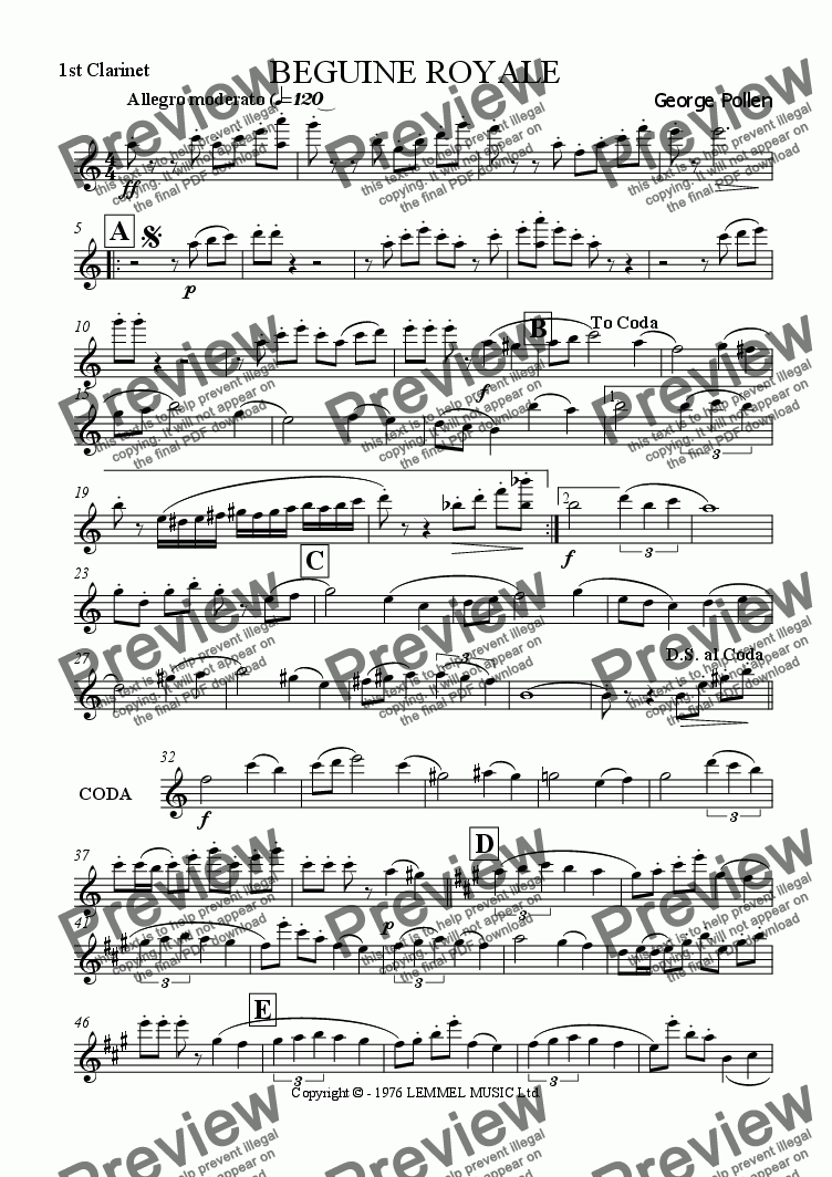 page one of the 1st Clarinet in Bb part from Beguine Royale (CB)