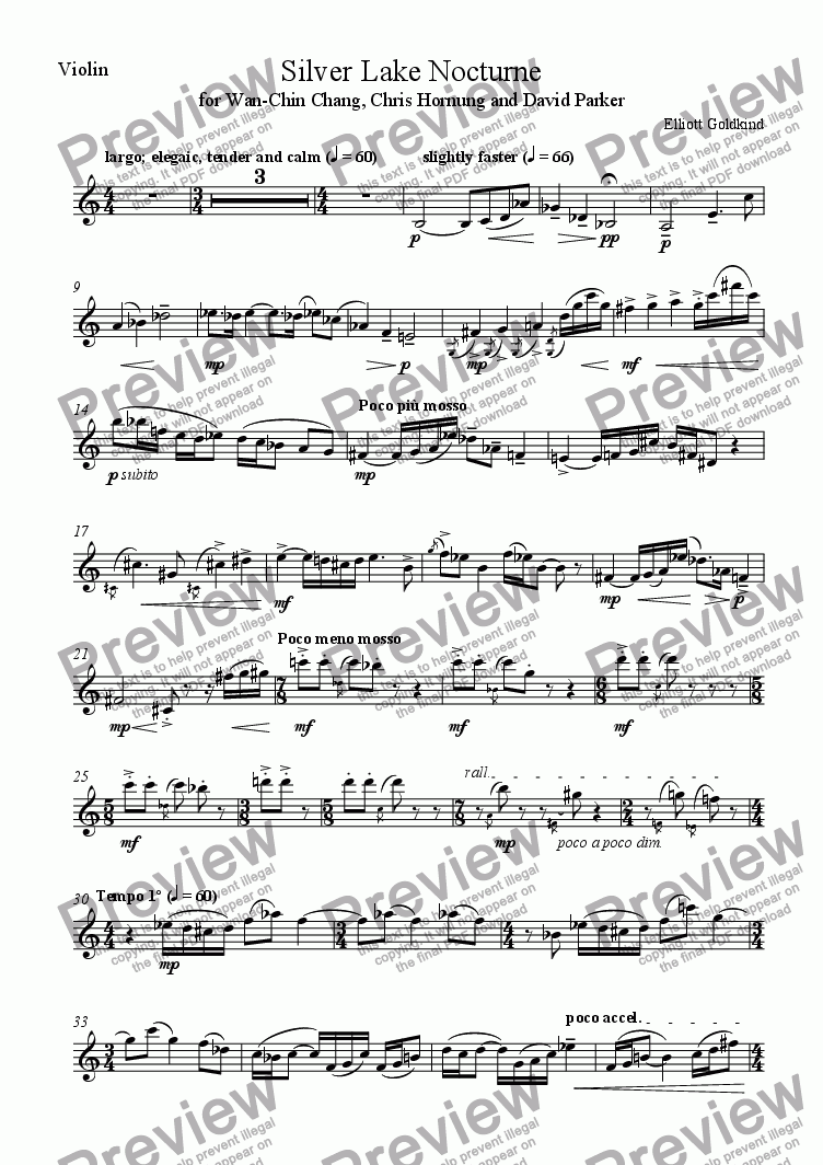 page one of the Violin part from Silver Lake Nocturne, for violin and contrabass