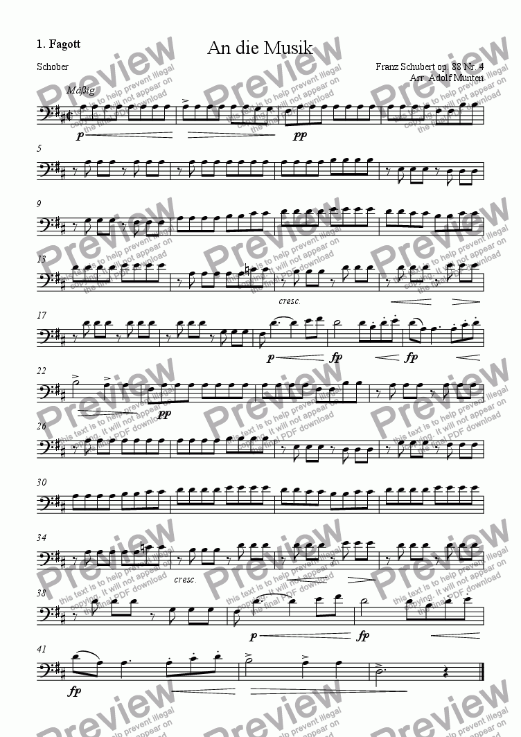 page one of the 1. Fagott part from An die Musik
