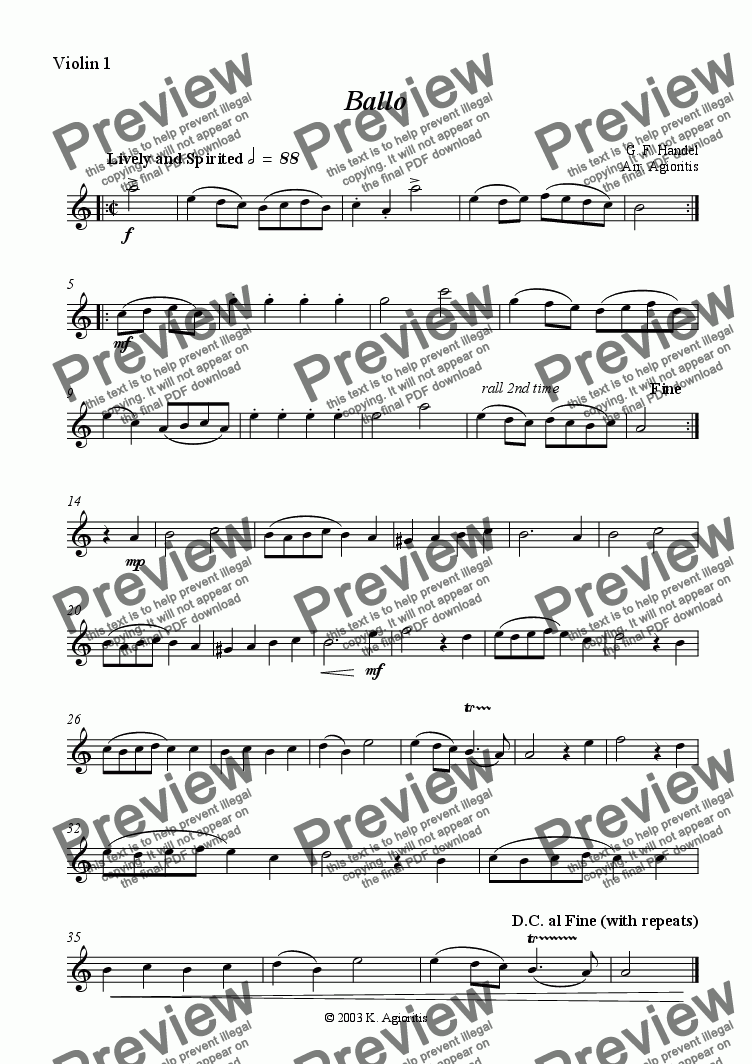 page one of the Violin 1 part from Ballo - for String Quartet