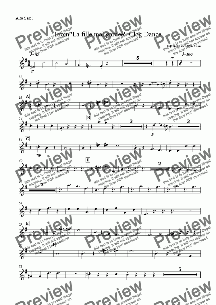 page one of the alto sax 1 part from Clog Dance (from La fille mal gardee) - Ferdinand Herold (arranged for training orchestra)