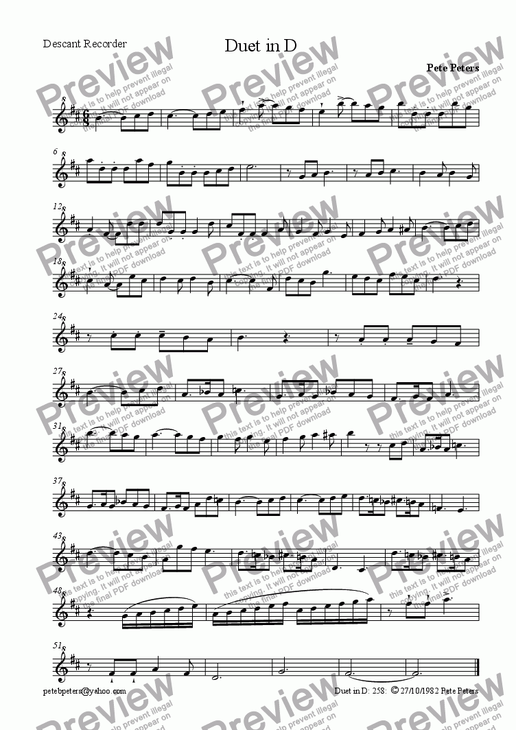 page one of the Descant part from Duet 3 in D [recs]