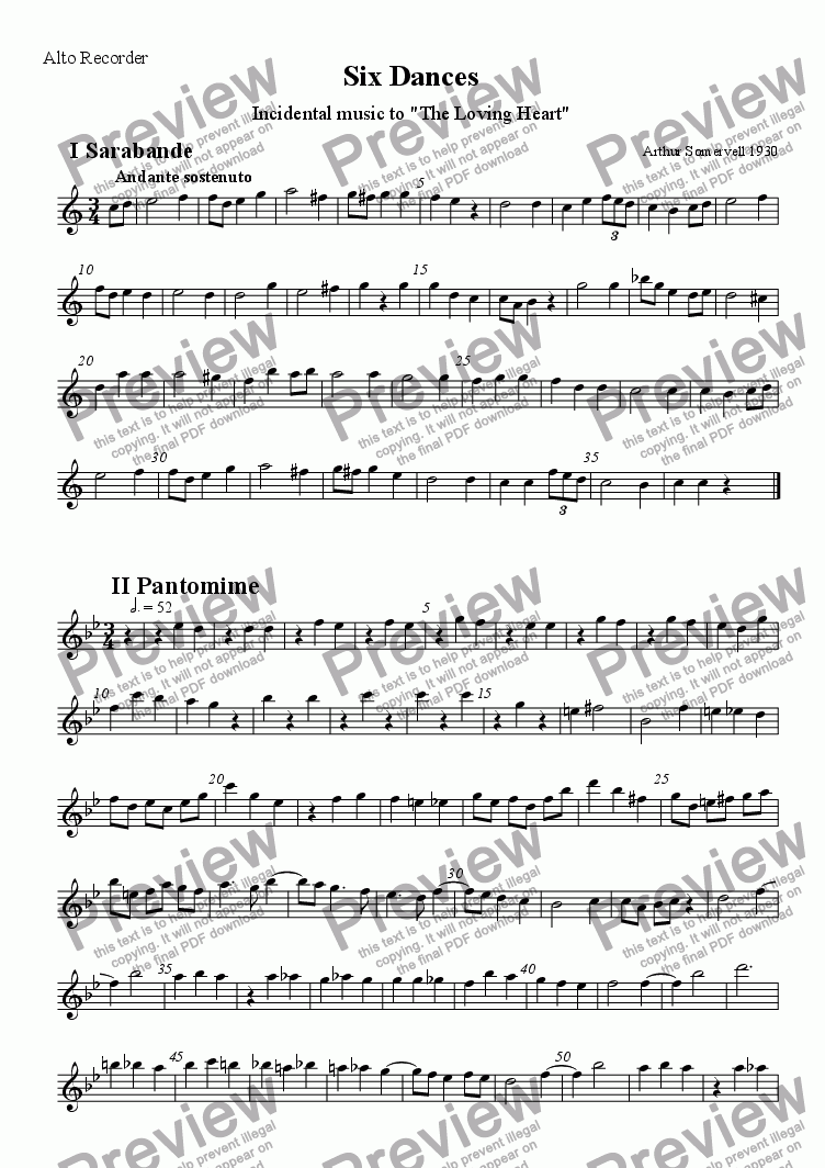 page one of the Alto recorder part from Six Dances from The Loving Heart