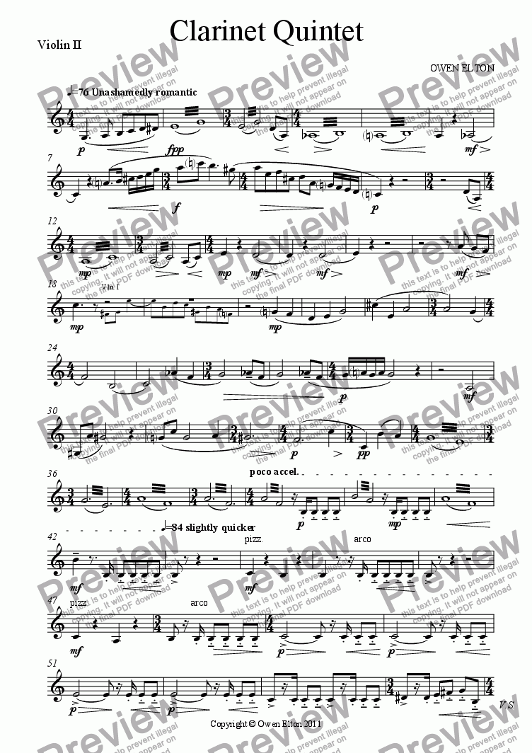 page one of the Violin 2 part from Clarinet Quintet