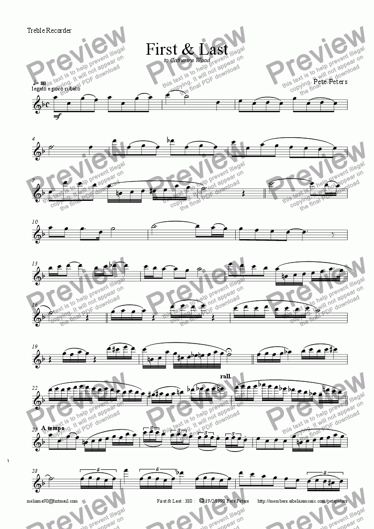 page one of the Treble Recorder or Flute part from First & Last [Recorder or  Flute]