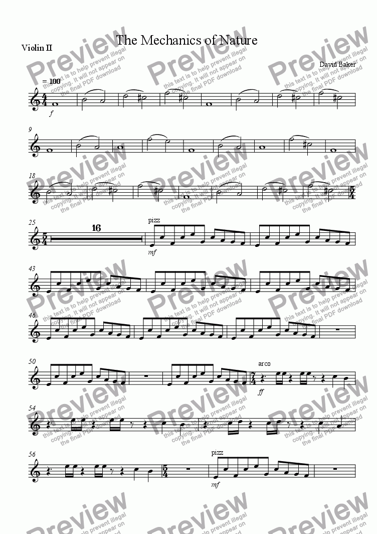 page one of the Violin 2 part from The Mechanics of Nature